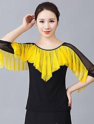 저렴한 -볼륨 댄스 상의 여성용 트레이닝 / 성능 폴리에스테르 루시 주름 장식 3/4 길이 소매 탑