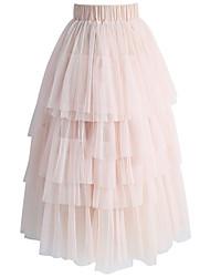 billige -Dame Gade / Sofistikerede A-linje Nederdele Ensfarvet Sort og hvid
