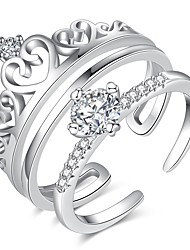 Недорогие -Для пары Кольца для пар Micro Pave Ring 2pcs Серебряный Романтика Элегантный стиль Свободные Подарок Свидание Бижутерия согласование Его и ее Сердце Сердце