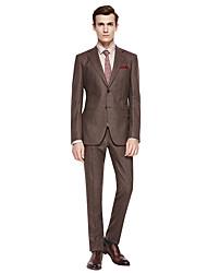 levne -Kávová / Tmavě šedá / Tmavě námořnická Jednobarevné Standard Polyester / Směs vlny Oblek - Otevřené Jednořadové se dvěma knoflíky
