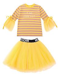 זול -סט של בגדים שרוול 4\3 פסים / דפוס בנות ילדים / פעוטות