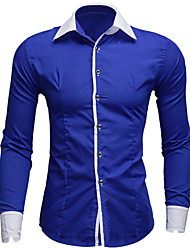 お買い得  -男性用 パッチワーク シャツ レギュラーカラー ソリッド / カラーブロック コットン ルビーレッド L