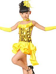 olcso -Latin tánc / Gyermek táncruhák Felszerelések Lány Edzés / Teljesítmény Háló / Flitteres Fodros / Fénylő Ujjatlan Ruha / Kesztyűk / Neckwear