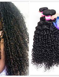 Недорогие -4 Связки Перуанские волосы Kinky Curly 100% Remy Hair Weave Bundles Головные уборы Человека ткет Волосы Пучок волос 8-28 дюймовый Естественный цвет Ткет человеческих волос / Без запаха