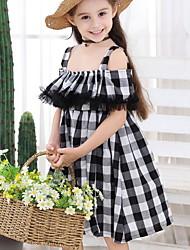 Χαμηλού Κόστους -Παιδιά Κοριτσίστικα Βασικό Τετράγωνο Καρό Patchwork Κοντομάνικο Ως το Γόνατο Πολυεστέρας Φόρεμα Μαύρο