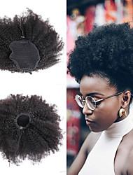 저렴한 -Laflare 클립 인 / 온 인간의 머리카락 확장 곱슬한 인모 포니테일 브라질리언 헤어 1개 여성 최고의 품질 새로운 도착 여성용 블랙