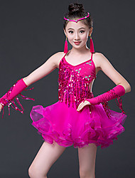 d0331aebd Latin Dance / Kids' Dancewear Outfits Girls' Training / Performance  Polyester / Mesh Cascading Ruffles / Tassel / Paillette Sleeveless Dress /  Sleeves