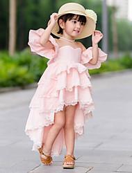 tanie -Dzieci / Brzdąc Dla dziewczynek Podstawowy / Słodkie Solidne kolory Pofałdowany Krótki rękaw Do kolan Bawełna / Spandeks Sukienka Rumiany róż