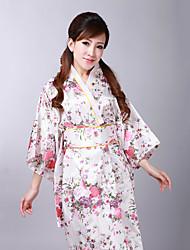 billige -Voksne Dame Kimonoer Japansk Kimono Jinbei Badekåpe Til Halloween Dagligdagstøy Festival Satin Kimono Frakke Midjebelte