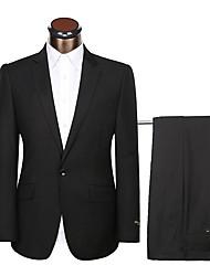 abordables -Bleu marine / Noir Couleur Pleine Coupe Standard Polyster Costume - Cranté Droit 1 bouton