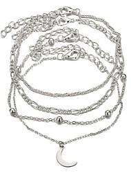 tanie -4 szt. Damskie Wielowarstwowy Zestaw bransoletek Księżyc Elegancki Modny Bransoletki Biżuteria Srebrny Na Prezent Ulica
