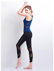 저렴한 -스포츠 댄스웨어 의상 / 요가 여성용 트레이닝 / 성능 친론 스플리트 조인트 민소매 높음 탑 / 팬츠