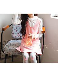 baratos -Infantil Para Meninas Doce / Estilo bonito Sólido Frufru Sem Manga Acima do Joelho Algodão / Poliéster Vestido Rosa
