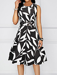 preiswerte -Damen knielanges Kleid a line rot schwarz gelb m L xl