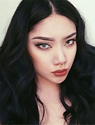 Χαμηλού Κόστους -Συνθετικές Περούκες Σγουρά / Bouncy Curl Στυλ Μέσο μέρος Χωρίς κάλυμμα Περούκα Μαύρο Κατάμαυρο Συνθετικά μαλλιά 24 inch Γυναικεία συνθετικός / Η καλύτερη ποιότητα / Φυσική γραμμή των μαλλιών Μαύρο