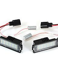 Недорогие -2pcs Автомобиль Лампы SMD LED 18 Светодиодная лампа Подсветка для номерного знака Назначение Volkswagen / Passat Polo Все года