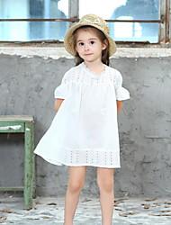Χαμηλού Κόστους -Παιδιά Κοριτσίστικα Μονόχρωμο Πλισέ Πολυεστέρας Φόρεμα Λευκό