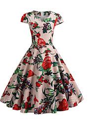 preiswerte -Damen Grundlegend Hülle Swing Kleid Blumen Knielang