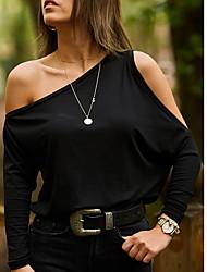 hesapli -Kadın ab / us boyutu gevşek gömlek - düz renkli bir omuz