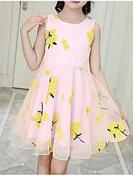 Χαμηλού Κόστους -Παιδιά Κοριτσίστικα Γλυκός / χαριτωμένο στυλ Φλοράλ Φιόγκος / Δίχτυ / Κεντητό Αμάνικο Βαμβάκι / Πολυεστέρας Φόρεμα Ανθισμένο Ροζ
