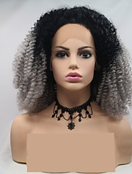 baratos -Perucas Lace Front Sintéticas Encaracolado / Afro Kinky Cinzento Escuro Corte em Camadas Cinza 130% Densidade Cabelo Humano Cabelo Sintético 24 polegada Mulheres Feminino / Cabelo Ombre Cinzento