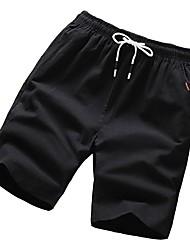 baratos -Homens / Mulheres Básico Chinos / Shorts Calças - Sólido Preto
