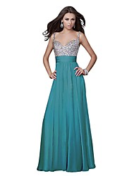 cheap -A-Line Sweetheart Neckline Floor Length Chiffon / Sequined Bridesmaid Dress with Sequin by LAN TING Express