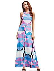 preiswerte -Damen Grundlegend A-Linie Kleid - Druck, Geometrisch Maxi