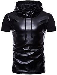 olcso -férfi póló - tömör színű kapucnis
