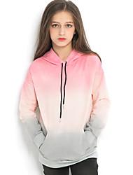 お買い得  -子供 女の子 ストリートファッション カラーブロック 長袖 ポリエステル フーディーズ&スウェットシャツ ピンク