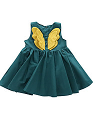 tanie -Dzieci Dla dziewczynek Śłodkie Solidne kolory Bez rękawów Do kolan Sukienka Zielony