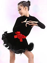 olcso -Latin tánc / Gyermek táncruhák Ruhák Lány Edzés / Teljesítmény Poliészter / Pleuche Pántlika / szalag / Fodros Hosszú ujj Ruha / Öv