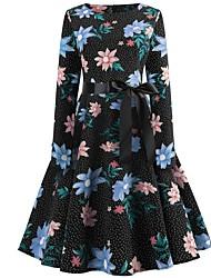 preiswerte -Damen knielanges Kleid a line schwarz blau beige s m l xl