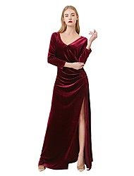 cheap -Sheath / Column V Neck Floor Length Velvet Bridesmaid Dress with Ruching by LAN TING Express