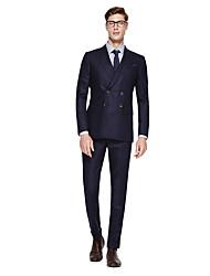 levne -Černá / Tmavě námořnická / Colored Gray Jednobarevné Na míru Směs vlny Oblek - Špičaté Jednořadové se dvěma knoflíky