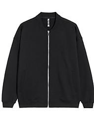 levne -Pánské Denní Šik ven Standardní Bunda, Jednobarevné Do V Dlouhý rukáv Polyester Černá M / L / XL