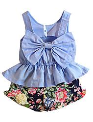tanie -Dzieci Dla dziewczynek Podstawowy Solidne kolory Bez rękawów Regularny Regularny Bawełna Komplet odzieży Jasnoniebieski