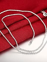 4608388e9eb6 Hombre Clásico Collares de cadena Plateado Barato Clásico Moda Cool Plata  61 cm Gargantillas Joyas 1pc Para Diario Trabajo