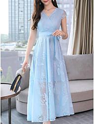 저렴한 -여성용 베이직 우아함 A 라인 드레스 - 솔리드, 레이스 레이스 -업 미디