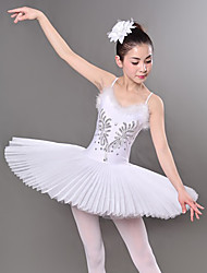 cheap -Ballet Dresses / Tutus & Skirts Women's Training / Performance Polyester / Mesh Embroidery / Crystals / Rhinestones / Paillette Sleeveless Dress