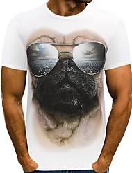저렴한 -남자 티셔츠 - 동물의 둥근 목