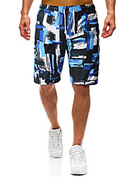cheap -Men's Sporty Basic Navy Blue Board Shorts Bottoms Swimwear - Color Block Lace up Print L XL XXL Navy Blue