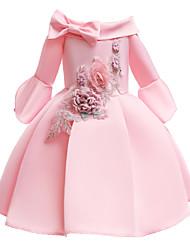 cheap -Kids / Toddler Girls' Vintage / Sweet Solid Colored Half Sleeve Knee-length Dress Pink