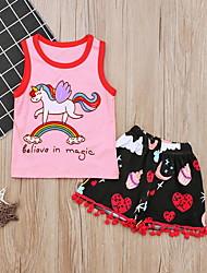 お買い得  -赤ちゃん 女の子 ストリートファッション プリント ノースリーブ レギュラー ポリエステル アンサンブル ピンク