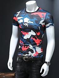 baratos -Homens Tamanhos Grandes Camiseta Geométrica Decote Redondo Delgado