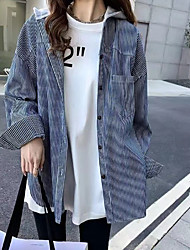 billige -kvinners pluss størrelse skjorte - solid farget hette