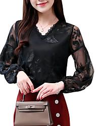 baratos -Mulheres Blusa Floral Algodão Decote V