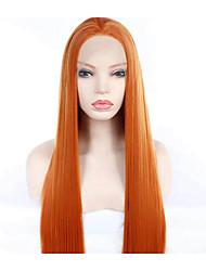 Недорогие -Синтетические кружевные передние парики Шелковисто-прямые Mina Стиль Свободная часть Лента спереди Парик Золотистый Оранжевый Искусственные волосы 24 дюймовый Жен. Для вечеринок / Женский / Sexy Lady