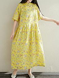זול -מקסי דפוס, פרחוני - שמלה ישרה סווינג בסיסי בגדי ריקוד נשים