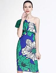 baratos -Mulheres Bainha Vestido - Estampado, Floral Acima do Joelho